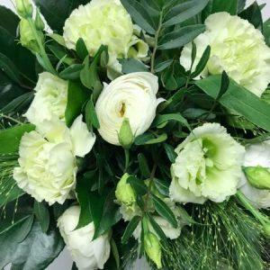 Kimppu kauden kukista, lime-valkoinen